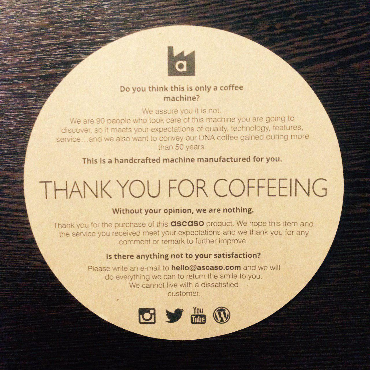 Thank you for coffeeing