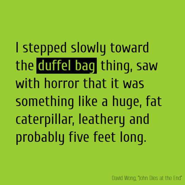I stepped slowly toward the **duffel bag** thing, saw with horror that it was something like a huge, fat caterpillar, leathery and probably five feet long.