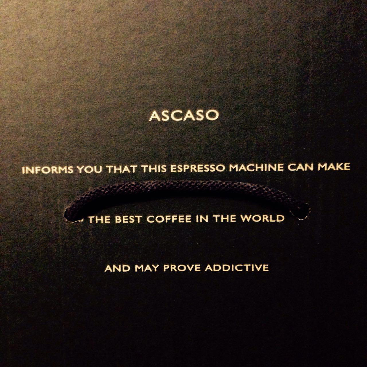 Ascaso informs you that this espresso machine can make the best coffee in the world and may prove addictive