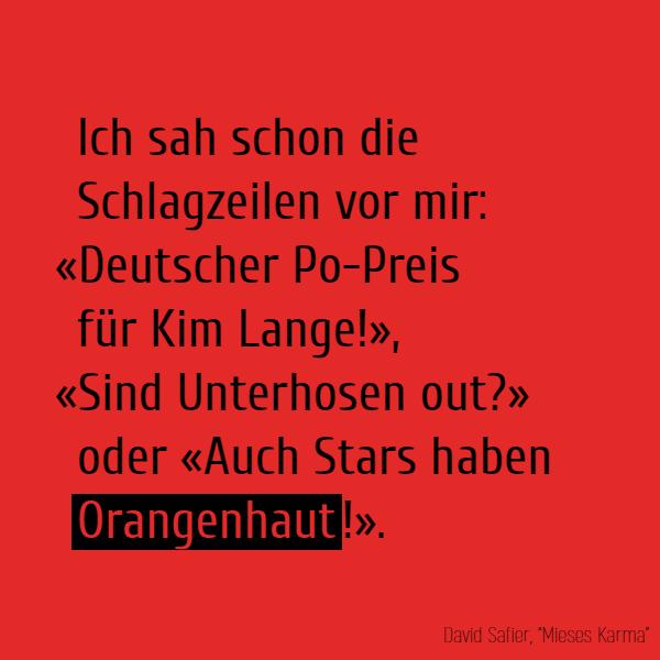 Ich sah schon die Schlagzeilen vor mir: «Deutscher Po-Preis für Kim Lange!», «Sind Unterhosen out?» oder «Auch Stars haben **Orangenhaut**!».