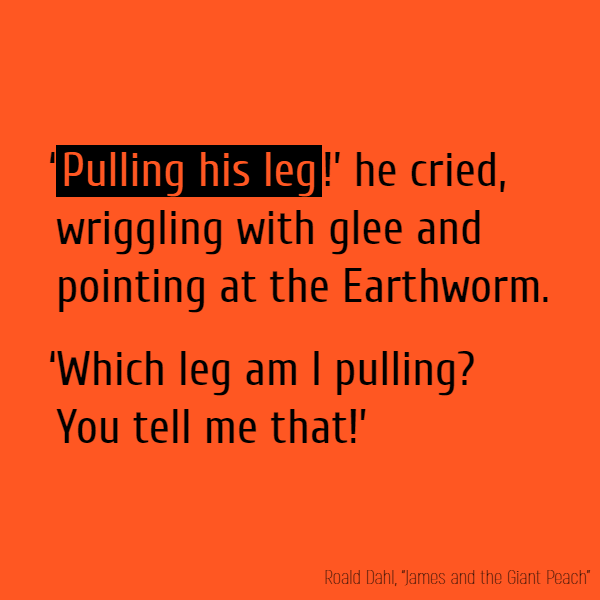 '**Pulling his leg**!' he cried, wriggling with glee and pointing at the Earthworm. 'Which leg am I pulling? You tell me that!'