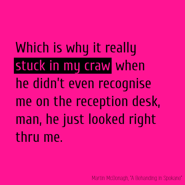 Which is why it really **stuck in my craw** when he didn't even recognise me on the reception desk, man, he just looked right thru me.