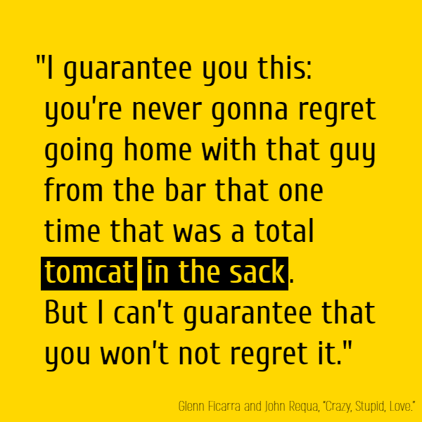 """""""I guarantee you this: you're never gonna regret going home with that guy from the bar that one time that was a total **tomcat** **in the sack**. But I can't guarantee that you won't not regret it."""""""